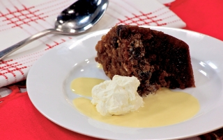 Sago-Christmas-pudding-with-custard-and-brandy-butter